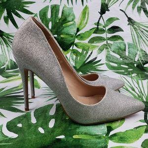Bella Marie silver mesh Morgan-7 heels stiletto 6M
